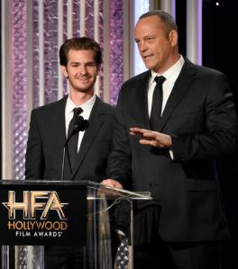 Andrew Garfield, left, and Vince Vaughn present an award at the 20th annual Hollywood Film Awards at the Beverly Hilton Hotel on Sunday, Nov. 6, 2016, in Beverly Hills, Calif. (Photo by Chris Pizzello/Invision/AP)
