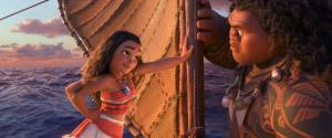 """This image released by Disney shows characters Maui, voiced by Dwayne Johnson, right, and Moana, voiced by Auli'i Cravalho, in a scene from the animated film, """"Moana."""" (Disney via AP)"""