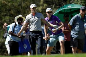 Alex Noren of Sweden reacts after putting a birdie on the 11th hole during the Nedbank Golf Challenge in Sun City, South Africa, Sunday, Nov. 13, 2016. (AP Photo/Themba Hadebe)