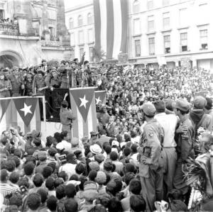 FILE - In this Jan. 1959 file photo, Cuba's leader Fidel Castro addresses a crowd in a park in front of the presidential palace in Havana, Cuba. Castro, who led a rebel army to improbable victory in Cuba, embraced Soviet-style communism and defied the power of 10 U.S. presidents during his half century rule, has died at age 90. Castro died eight years after ill health forced him to formally hand power over to his younger brother Raul, who announced his death late Friday, Nov. 25, 2016, on state television. (AP Photo/Harold Valentine, File)