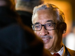 Congressman Bobby Scott, D-Va., greets workers at an entrance to Newport News Shipbuilding in Newport News, Va., Thursday, Oct. 27, 2016. Scott is considered the top candidate to be a Senate candidate if Sen. Tim Kaine is elected vice-president. (AP Photo/Steve Helber)