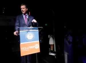 California Lt. Gov. Gavin Newsom speaks at a rally in support of Prop. 64 Tuesday, Nov. 8, 2016, in San Francisco. California voters approved a ballot measure Tuesday allowing recreational marijuana in the nation's most populous state. (AP Photo/Marcio Jose Sanchez)