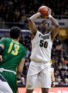 Purdue forward Caleb Swanigan (50) shoots over Norfolk State forward Stavian Allen (13) during the second half of an NCAA college basketball game in West Lafayette, Ind., Wednesday, Dec. 21, 2016. Purdue defeated Norfolk State 91-45. (AP Photo/Michael Conroy)