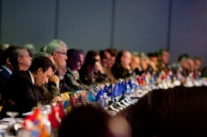 Military leaders with NATO's Allied Command Transformation listen attentively to a conference panel on technology at NATO ACT's annual conference in Norfolk, Virginia on Dec. 14, 2016 in the Norfolk Marriott hotel in downtown Norfolk.