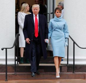 Melania Trump wears sky-blue cashmere Ralph Lauren ensemble