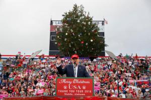 FILE - In this Saturday, Dec. 17, 2016, file photo, President-elect Donald Trump speaks during a rally at Ladd-Peebles Stadium in Mobile, Ala.  (AP Photo/Evan Vucci, File)