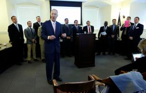 James V. Coch, president emeritus of Strome College of Business at Old Dominion University, foreground, speaks during a press conference in the State Capitol in Richmond, Va., Tuesday, Jan. 17, 2017, arranged by Sen. Bill DeSteph, R-VA Beach, far right, that featured legislators from both parties which addressed the high cost of higher education in Virginia. (Bob Brown/Richmond Times-Dispatch via AP)