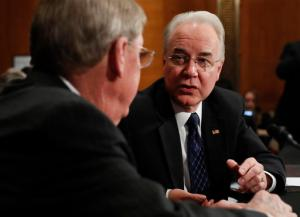Health and Human Services Secretary-designate, Rep. Tom Price, R-Ga., right, talks with Sen. Johnny Isakson, R-Ga. on Capitol Hill in Washington, Wednesday, Jan. 18, 2017, prior to the start of Price's confirmation hearing before the Senate Health, Education, Labor and Pensions Committee. (AP Photo/Carolyn Kaster)