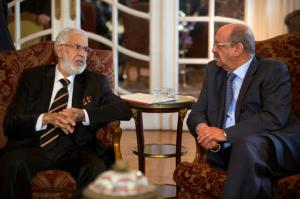 "Libyan Foreign Minister, Mohamed Taher Siala, left, talks to Abdelkader Messahel, Algeria's Minister for African and Maghreb affairs, as they attend a ministerial meeting of countries neighboring Libya which include Egypt, Tunisia, Algeria, Sudan, Niger and Chad, as well as United Nations envoy, Martin Kobler, in Cairo, Egypt, Saturday, Jan. 21, 2017. Egyptian Foreign Minister Sameh Shoukry, said ""Egypt is committed to upholding Libya's sovereignty, supporting its legitimate institutions and rejecting foreign interference in the crisis"". MENA reported. (AP Photo/Amr Nabil)"