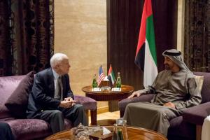 In this Wednesday Feb. 22, 2017, photo released by Emirates News Agency, WAM, Sheikh Mohamed bin Zayed Al Nahyan Crown Prince of Abu Dhabi and Deputy Supreme Commander of the UAE Armed Forces, right, meets with John McCain, Senator of the United States of America and Chair of the Senate Armed Services Committee at Al Shati Palace, Abu Dhabi, United Arab Emirates. (Rashed Al Mansoori/Crown Prince Court via AP)