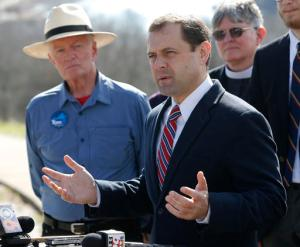 Democratic candidate for governor of Virginia, former congressman Tom Perriello, speaks during a news conference in Richmond, Va., Wednesday, Feb. 8, 2017. Perriello announced his opposition to the proposed Atlantic Coast Pipeline. (AP Photo/Steve Helber)