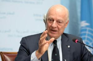 UN Special Envoy of the Secretary-General for Syria Staffan de Mistura informs the media one day before the resumption of the negotiation between the Syrian government and the opposition, at the European headquarters of the United Nations in Geneva, Switzerland, on Wednesday, Feb. 22, 2017. Martial Trezzini/Keystone via AP)