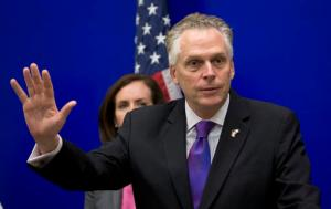 Virginia Gov. Terry McAuliffe gestures during a news conference at the Capitol in Richmond, Va., Thursday, Jan. 19, 2017. McAuliffe joined the Women's Health Care Caucus to promote women's health legislation. (AP Photo/Steve Helber)