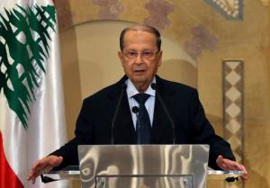 FILE -- In this Oct. 20, 2016 file photo, Christian leader Michel Aoun speaks to journalists in Beirut, Lebanon. The newly elected Lebanese President Michel Aoun arrived in Egypt for the first time since his inauguration, shortly after defending the militant group Hezbollah's arms role in a Sunday interview with Egyptian TV network CBC. Aoun's visit is the first for the former army commander to Egypt in 55 years. He was elected in October after a 29-month vacuum in the country's top post. (AP Photo/Hussein Malla, File)