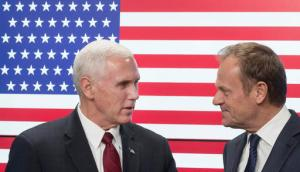 United States Vice President Mike Pence, left, and EU Council President Donald Tusk pose for photographers as Pence arrives at the European Council building in Brussels, Belgium, on Monday, Feb. 20, 2017. Pence is currently on a one day trip to Brussels to meet with EU and NATO officials. (AP Photo/Thierry Monasse)