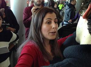 FILE- In this Jan. 29, 2017 file photo, Vahideh Rasekhi, an Iranian doctoral student at Stony Brook University, greets friends and family as she is released from detention at John F. Kennedy International Airport in New York, Sunday, Jan. 29, 2017. On Thursday, Feb. 23, 2017, the government has given civil rights attorneys a list of over 700 people subject to President Donald Trump's travel ban who were detained or processed by U.S. border agents in the turbulent 27 hours after a judge partially blocked enforcement of the executive order. Lawyers agreed not to release the names publicly. (AP Photo/Seth Wenig, File)