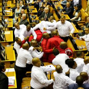 South African lawmakers brawl during protest ofpresident