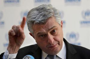 """Filippo Grandi, the head of U.N. refugee agency UNHCR, gestures as he speaks during a press conference, in Beirut, Lebanon, Friday, Feb. 3, 2017. Grandi pushed back against the increasingly favored initiative to create safe zones in Syria for refugees, saying the country was """"not the right place"""" to guarantee refugee safety. (AP Photo/Hussein Malla)"""