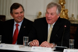 Emerson Electric CEO David Farr listens at left as Caterpillar CEO Doug Oberhelman speaks during a meeting with President Donald Trump and manufacturing executives at the White House in Washington, Thursday, Feb. 23, 2017. (AP Photo/Evan Vucci)