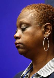 Sonia Adams tears up as people talk about her mentally ill son Jamycheal Mitchell who died in the Hampton Roads Regional Jail. During the Wednesday, Jan. 18, 2017 press conference in the General Assembly Building in Richmond, Va., legislators spoke about bills to prevent deaths like Jamycheal's from happening in Virginia jails. (Alexa Welch Edlund/Richmond Times-Dispatch via AP)