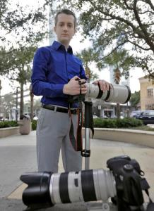 "In this photo taken Feb 9, 2017, Mike Schwarz, sole proprietor of Mike Schwarz Photography, poses for a photo in Tampa, Fla. Schwarz is a self-employed business owner who buys his own health insurance. The subsidized coverage ""Obamacare"" offers provides him protection from life's unpredictable changes and freedom to pursue his vocation, he says. (AP Photo/Chris O'Meara)"