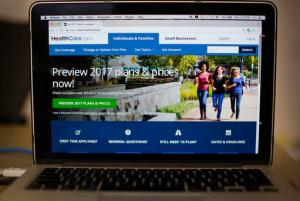 """FILE - In this Oct. 24, 2016 file photo, the HealthCare.gov 2017 web site home page is seen on a laptop in Washington. Though """"Obamacare"""" still divides Americans, a majority worries many will lose coverage if the 2010 law is repealed in the nation's long-running political standoff over health care. A new poll by the Associated Press-NORC Center for Public Affairs Research finds that 56 percent of U.S. adults are """"extremely"""" or """"very"""" concerned that many will lose health insurance if the health overhaul is repealed. That includes more than 8 in 10 Democrats, nearly half of independents, and more than 1 in 5 Republicans. Another 45 percent of Republicans say they're """"somewhat"""" concerned.  (AP Photo/Pablo Martinez Monsivais, File)"""
