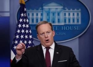 White House press secretary Sean Spicer speaks during a daily press briefing at the White House in Washington, Thursday, Feb. 23, 2017. (AP Photo/Manuel Balce Ceneta)