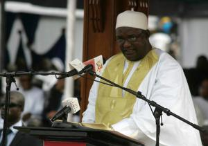 In this photo taken on Saturday, Feb. 18, 2017, Gambia President Adama Barrow speaks during his inauguration ceremony in Banjul, Gambia. As Gambia enters a new era of democracy, President Adama Barrow has reiterated his commitment to ending human rights abuses in the country. (AP Photo/ Kuku Marong)
