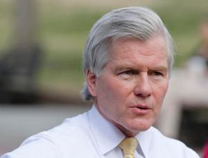 Former Gov. Bob McDonnell answers a reporters questions during an interview on the grounds of the Capitol in Richmond, Va., Wednesday, Feb. 8, 2017. McDonnell is due to appear at a Virginia Capitol Correspondents event Wednesday evening. (AP Photo/Steve Helber)