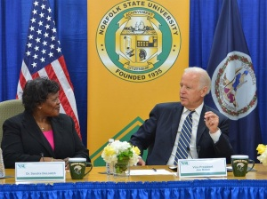 Dr. Sandra DeLoatch speaks with Vice President Joe Biden about cybersecurity initiatives at Norfolk State University. Photo from NSU Communications and Marketing.