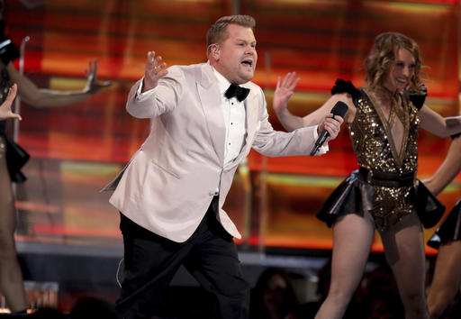 Host James Corden performs a skit at the 59th annual Grammy Awards on Sunday, Feb. 12, 2017, in Los Angeles. (Photo by Matt Sayles/Invision/AP)