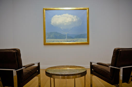 "One of the largest and most unusual paintings by surrealist master Rene Magritte is shown at New York's Christie's auction house, Monday Feb. 6, 2017. ""La Corde Sensible"" (""Heartstrings"") will be up for sale with an estimated price of 14 million pounds ($17.5 million) in London on Feb. 28. (Christie's via AP)"