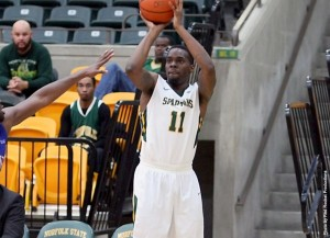 Photo of Kerwin Okoro taking a shot from NSUSpartans.com.