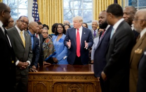 President Donald Trump meets with leaders of Historically Black Colleges and Universities (HBCU) in the Oval Office of the White House in Washington, Monday, Feb. 27, 2017. (AP Photo/Pablo Martinez Monsivais)