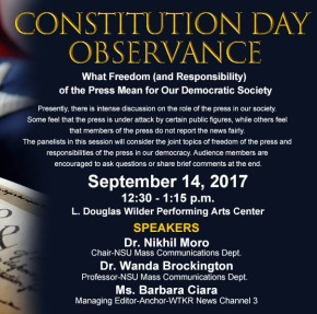 Constitution Day, Sept. 14: Media profs and pro discuss freedom of the press