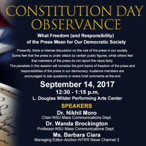 Constitution Day, Sept. 14: Media profs and pro discuss freedom of thepress