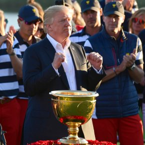 Trump arrives at Liberty National for Presidents Cup finale