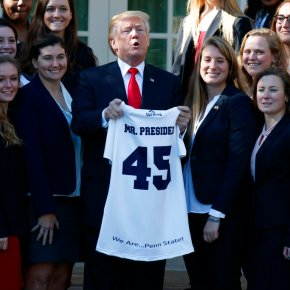Trump welcomes college sports champions to the WhiteHouse
