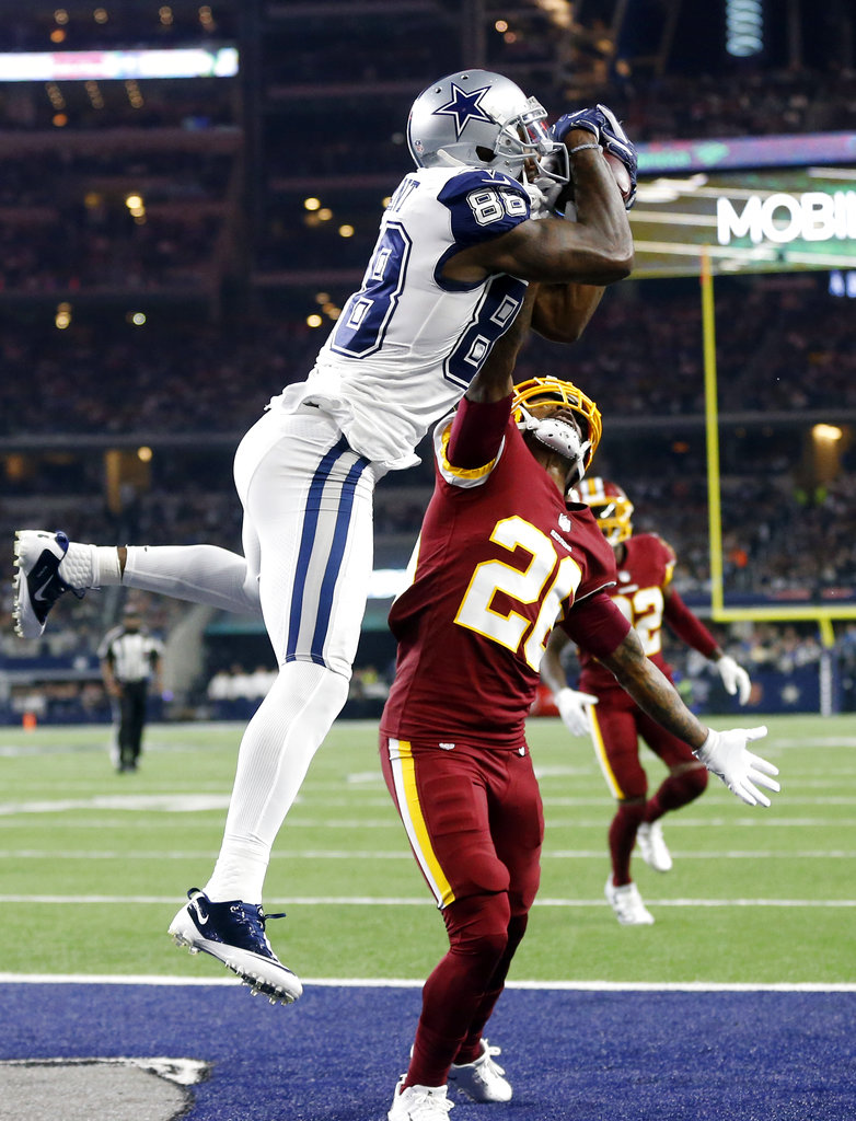 512d364f96d Dallas Cowboys wide receiver Dez Bryant (88) catches a pass for a touchdown  over Washington Redskins cornerback Bashaud Breeland (26) in the second  half of ...
