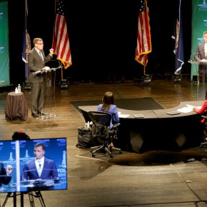 Sen. Mark Warner and Dr. Gade discuss racial justice at the Senatorial Debate hosted by Norfolk State University
